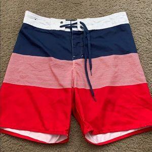 Red, White & Blue Swim Trunks
